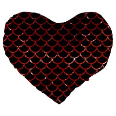 Scales1 Black Marble & Red Marble Large 19  Premium Flano Heart Shape Cushion by trendistuff
