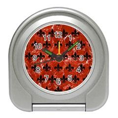 Royal1 Black Marble & Red Marble Travel Alarm Clock by trendistuff