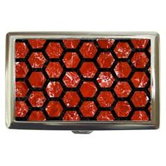 Hexagon2 Black Marble & Red Marble (r) Cigarette Money Case by trendistuff