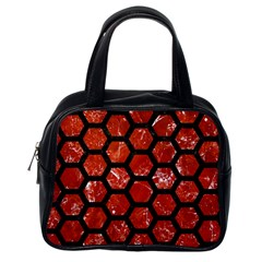 Hexagon2 Black Marble & Red Marble (r) Classic Handbag (one Side) by trendistuff