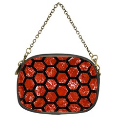 Hexagon2 Black Marble & Red Marble (r) Chain Purse (two Sides) by trendistuff