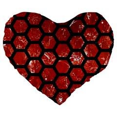 Hexagon2 Black Marble & Red Marble (r) Large 19  Premium Flano Heart Shape Cushion by trendistuff