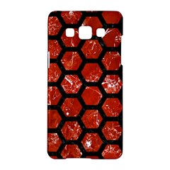Hexagon2 Black Marble & Red Marble (r) Samsung Galaxy A5 Hardshell Case  by trendistuff