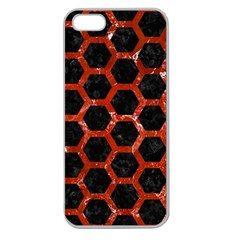 Hexagon2 Black Marble & Red Marble Apple Seamless Iphone 5 Case (clear) by trendistuff