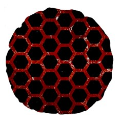 Hexagon2 Black Marble & Red Marble Large 18  Premium Round Cushion  by trendistuff