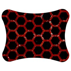 Hexagon2 Black Marble & Red Marble Jigsaw Puzzle Photo Stand (bow) by trendistuff