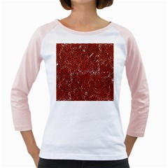 Hexagon1 Black Marble & Red Marble (r) Girly Raglan by trendistuff