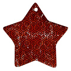 Hexagon1 Black Marble & Red Marble (r) Star Ornament (two Sides) by trendistuff