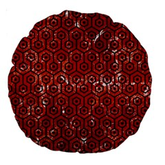 Hexagon1 Black Marble & Red Marble (r) Large 18  Premium Round Cushion  by trendistuff