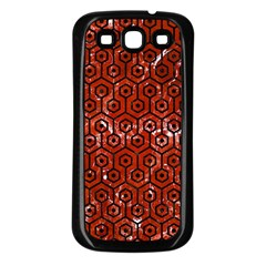 Hexagon1 Black Marble & Red Marble (r) Samsung Galaxy S3 Back Case (black)