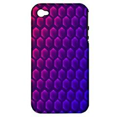 Outstanding Hexagon Blue Purple Apple Iphone 4/4s Hardshell Case (pc+silicone) by Jojostore