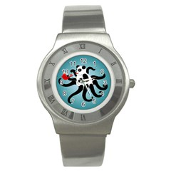 Panda Octopus Fish Blue Stainless Steel Watch by Jojostore