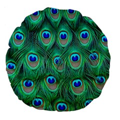 Peacock Feather Large 18  Premium Flano Round Cushions by Jojostore
