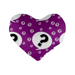 Question Mark Sign Standard 16  Premium Flano Heart Shape Cushions by Jojostore