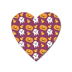 Pumpkin Ghost Canddy Helloween Heart Magnet by Jojostore