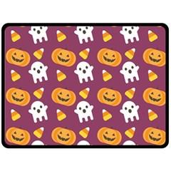 Pumpkin Ghost Canddy Helloween Double Sided Fleece Blanket (large)  by Jojostore