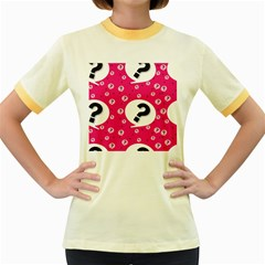 Question Mark Red Sign Women s Fitted Ringer T Shirts by Jojostore