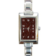 Hexagon1 Black Marble & Red Marble Rectangle Italian Charm Watch by trendistuff