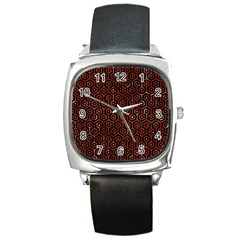 Hexagon1 Black Marble & Red Marble Square Metal Watch by trendistuff