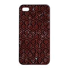 Hexagon1 Black Marble & Red Marble Apple Iphone 4/4s Seamless Case (black) by trendistuff