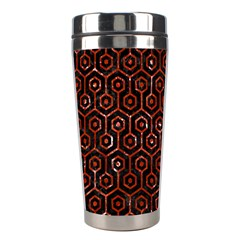 Hexagon1 Black Marble & Red Marble Stainless Steel Travel Tumbler by trendistuff