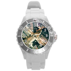 Architecture Buildings City Round Plastic Sport Watch (l) by Amaryn4rt