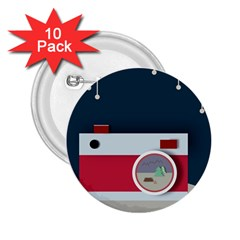 Camera Vector Illustration 2 25  Buttons (10 Pack)