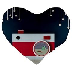 Camera Vector Illustration Large 19  Premium Flano Heart Shape Cushions