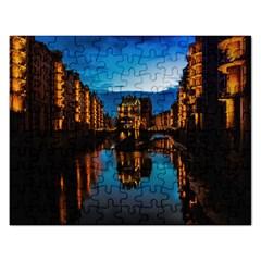 Hamburg City Blue Hour Night Rectangular Jigsaw Puzzl by Amaryn4rt