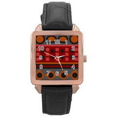 Red Aztec Rose Gold Leather Watch  by Jojostore