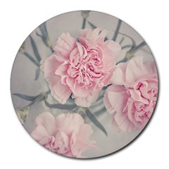 Cloves Flowers Pink Carnation Pink Round Mousepads by Amaryn4rt