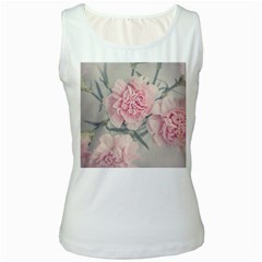Cloves Flowers Pink Carnation Pink Women s White Tank Top by Amaryn4rt