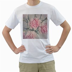 Cloves Flowers Pink Carnation Pink Men s T Shirt (white) (two Sided) by Amaryn4rt