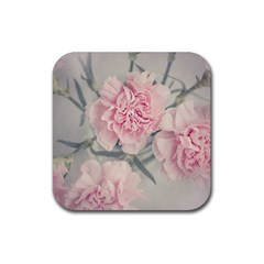 Cloves Flowers Pink Carnation Pink Rubber Coaster (square)  by Amaryn4rt