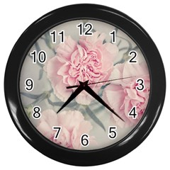 Cloves Flowers Pink Carnation Pink Wall Clocks (black) by Amaryn4rt