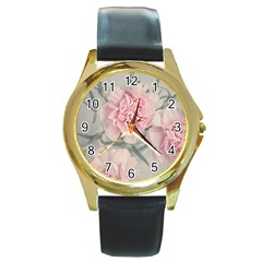 Cloves Flowers Pink Carnation Pink Round Gold Metal Watch by Amaryn4rt