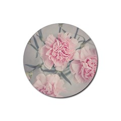 Cloves Flowers Pink Carnation Pink Rubber Coaster (round)  by Amaryn4rt