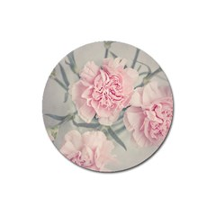 Cloves Flowers Pink Carnation Pink Magnet 3  (round) by Amaryn4rt