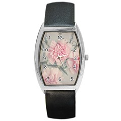 Cloves Flowers Pink Carnation Pink Barrel Style Metal Watch by Amaryn4rt