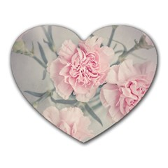 Cloves Flowers Pink Carnation Pink Heart Mousepads by Amaryn4rt