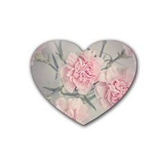 Cloves Flowers Pink Carnation Pink Rubber Coaster (heart)  by Amaryn4rt