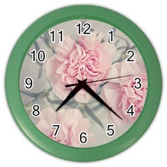 Cloves Flowers Pink Carnation Pink Color Wall Clocks by Amaryn4rt