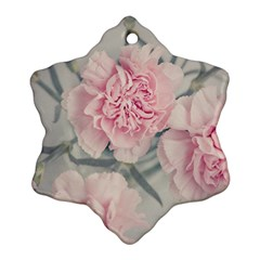 Cloves Flowers Pink Carnation Pink Snowflake Ornament (2 Side) by Amaryn4rt