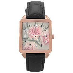 Cloves Flowers Pink Carnation Pink Rose Gold Leather Watch  by Amaryn4rt