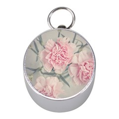 Cloves Flowers Pink Carnation Pink Mini Silver Compasses by Amaryn4rt