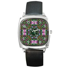 Digital Kaleidoscope Square Metal Watch by Amaryn4rt