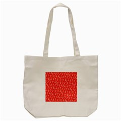 Red Alphabet Tote Bag (cream) by Jojostore