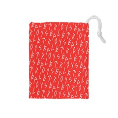 Red Alphabet Drawstring Pouches (medium)  by Jojostore