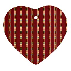 Pattern Background Red Stripes Heart Ornament (2 Sides) by Amaryn4rt