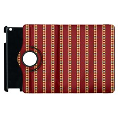 Pattern Background Red Stripes Apple Ipad 2 Flip 360 Case by Amaryn4rt